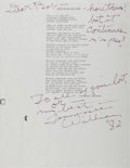 Autographs:Authors, Tennessee Williams. Inscribed copy of poem. 1982. Fold lines. Verygood....