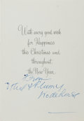 "Autographs:Authors, P.G. Wodehouse. Signed Christmas Card ""from Ethel & Plumy Wodehouse"". Plumy was an endearment from ""Plum"" as most family and..."