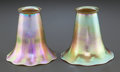 Art Glass:Steuben, PAIR OF STEUBEN GOLD AURENE GLASS LAMP SHADES. Circa 1920,Engraved: AURENE. 4-1/2 inches high (11.4 cm). ... (Total: 2Items)
