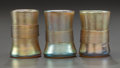 Art Glass:Tiffany , THREE TIFFANY STUDIOS GOLD FAVRILE GLASS SHOT GLASSES. Circa 1900,Engraved: L.C.T.. 1-3/4 inches high (4.4 cm) (tallest...(Total: 3 Items)