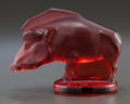 Art Glass:Lalique, LALIQUE RED GLASS SANGLIER MASCOT IN ORIGINAL BOX. Post1945, Engraved: Lalique, France. 2-3/4 inches high (...