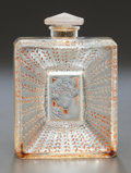 Art Glass:Lalique, R. LALIQUE GLASS LA BELLE SAISON PERFUME BOTTLE WITH SEPIAPATINA. Circa 1925, Molded: R. LALIQUE, MADE IN FRANC...