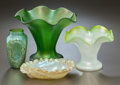 Art Glass:Other , THREE AUSTRIAN GLASS VASES WITH AN AUSTRIAN GLASS DISH. Circa 1900.5-1/2 inches high (14.0 cm) (tallest). ... (Total: 4 Items)