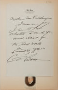 Autographs:Authors, Charles Dana Gibson. Autograph letter signed. On Life magazine letterhead. 8.5 by 5.5 inches, mounted to larger sheet with p...