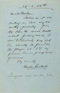 Autographs:Authors, Hamlin Garland. American writer of Middle Westerns, in the late1800s and early 1900s. Autograph Letter Signed. 8.5 by 5.5 i...