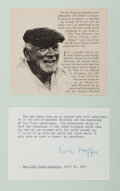 Autographs:Authors, Eric Hoffer. Longshoreman and Philosopher. Typed excerpt signed. on 5.75 by 3.25 card, and mounted with other sheet with the...