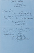Autographs:Authors, Robert Hichens. British Author. Autograph letter Signed. On bluepaper, Rome: 1911. Sheet with two folds. ...