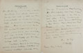 Autographs:Authors, Maurice Hewlett. British Novelist and Essayist. Autograph LetterSigned. Two octavo pages. [London]: 1912. To his publisher ...