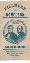 Political:Ribbons & Badges, Fillmore & Donelson: A Very Rare 1856 Jugate Campaign Ribbon....