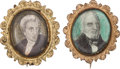 Political:Miscellaneous Political, Andrew Jackson & John Quincy Adams: An Exquisite Pair of Portrait Brooches for These Opposing Candidates. ... (Total: 2 Items)