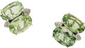 Estate Jewelry:Earrings, A PAIR OF PRASIOLITE, DIAMOND, WHITE GOLD EARRINGS, ANTONINI. ...