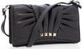 Luxury Accessories:Bags, Valentino Black Ruched Leather Rockstud Collection Crossbody SmallBag. ...