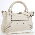 Luxury Accessories:Bags, Balenciaga White Antiqued Leather Small First City Bag withShoulder Strap. ...