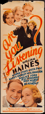 "Are You Listening? (MGM, 1932). Insert (14"" X 36""). Crime"