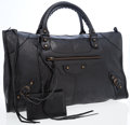 Luxury Accessories:Bags, Balenciaga Black Antiqued Leather Large City Bag . ...