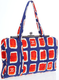 Chanel Blue & Red Microfiber Tote Bag with Gunmetal Hardware