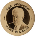 Political:Pinback Buttons (1896-present), John W. Davis: One of the Top Davis Portrait Buttons in TerrificCondition. ...