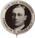 "Political:Pinback Buttons (1896-present), Franklin D. Roosevelt: A Rare 1920 Vice Presidential 1¼"" Buttonwith Youthful Photo...."