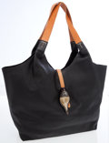 Luxury Accessories:Bags, Henry Beguelin Black Leather Hobo Bag with Seashell Charm. ...