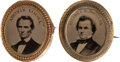 Political:Ferrotypes / Photo Badges (pre-1896), Abraham Lincoln and Stephen A. Douglas: A Great Matched Pair ofOval Ferrotype Brooches for These 1860 Opponents.... (Total: 2Items)