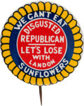 Political:Pinback Buttons (1896-present), Anti-Alf Landon: One of the Classic Political Slogan ButtonRarities....