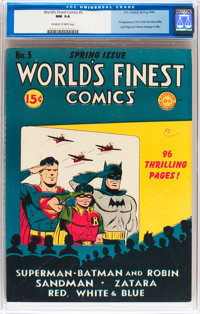 World's Finest Comics #5 (DC, 1942) CGC NM 9.4 Off-white to white pages