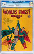 Golden Age (1938-1955):Superhero, World's Finest Comics #21 (DC, 1946) CGC NM 9.4 Off-white to white pages....