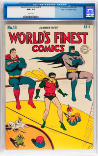 World's Finest Comics #18 Mile High pedigree (DC, 1945) CGC NM+ 9.6 White pages