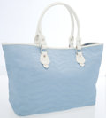 Luxury Accessories:Bags, Fendi Sky Blue Zebra Print Canvas Tote Bag with White LeatherAccents. ...