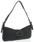 Luxury Accessories:Bags, Fendi Charcoal Gray Cotton Baguette Bag. ...