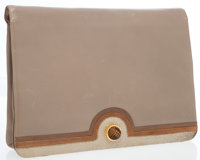 Judith Leiber Beige & Brown Leather Oversize Clutch Bag with Tortoise Shell Closure