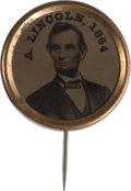 Political:Ferrotypes / Photo Badges (pre-1896), Abraham Lincoln: Dated Ferrotype Stickpin....