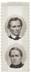 Political:Ribbons & Badges, Lincoln & Hamlin: A Breathtaking 1860 Jugate Ribbon with Brady Portraits....