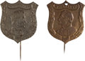 Political:Ferrotypes / Photo Badges (pre-1896), Abraham Lincoln and George McClellan: Pair of Shield Stickpins....(Total: 2 Items)