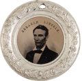 "Political:Ferrotypes / Photo Badges (pre-1896), Lincoln & Hamlin: An Absolutely Stunning, Large ""Donut"" Ferro in Virtually Pristine Condition. ..."