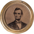 Political:Ferrotypes / Photo Badges (pre-1896), Abraham Lincoln: The Largest Size of 1864 Campaign Ferrotype inTerrific Condition....