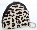 Luxury Accessories:Bags, Gucci Black & White Leopard Print Ponyhair Frame Evening ClutchBag with Chain Strap. ...