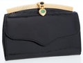 Luxury Accessories:Accessories, Judith Leiber Black Stamped Leather Evening Wallet with CabochonClosure. ...