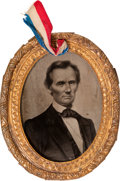 Political:Ferrotypes / Photo Badges (pre-1896), Abraham Lincoln: The Legendary George Clark Ambrotype from the 1860Campaign....