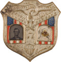 Political:Ferrotypes / Photo Badges (pre-1896), Lincoln & Johnson: Ferrotype Jugate Badge. ...