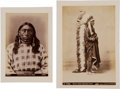 Photography:Cabinet Photos, Two Albumen Prints: Squaw Jessie & Sioux Chief Standing Bear.... (Total: 2 )