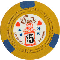 "Las Vegas Casino Chips: Sands $5 ""Hourglass"""