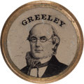 Political:Ferrotypes / Photo Badges (pre-1896), Horace Greeley: An Amazing Large 1872 Campaign Ferrotype....