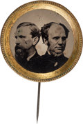 Political:Ferrotypes / Photo Badges (pre-1896), Seymour & Blair: A Striking Large Ferrotype Jugate withReversed Portraits. ...