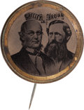 Political:Ferrotypes / Photo Badges (pre-1896), Greeley & Brown: A Rare Conjoined-Busts Jugate Ferro for theseTough Candidates. ...