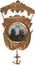 Political:Ferrotypes / Photo Badges (pre-1896), Cleveland & Thurman: The Best Jugate Badge Variety from the1888 Election....