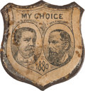 Political:Ferrotypes / Photo Badges (pre-1896), Hancock & English: A Very Rare Jugate Design for this Elusive1880 Ticket. ...