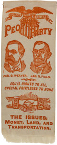 Political:Ribbons & Badges, Weaver & Field: An Extremely Rare 1892 Third Party Jugate Ribbon....