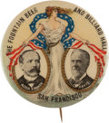 """Political:Pinback Buttons (1896-present), Parker & Davis: A Rare 1¼"""" Jugate with Advertising for a San Francisco Billiard Parlor and Saloon...."""