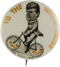 Political:Pinback Buttons (1896-present), William McKinley: Bicycle Rider Cartoon Pin....